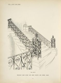 Wrought iron stoop and area railing and newel posts.