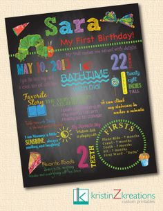 Custom Poster/Chalkboard Design (The Very Hungry Caterpillar)- digital file YOU PICK SIZE via Etsy