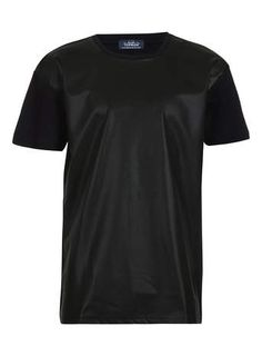 Black Perforated Leather Look Front T-Shirt