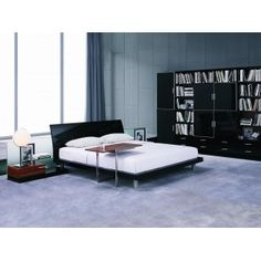 Aron Night Contemporary Bed Curved Lacquer Headboard with Built-in Nightstands and Rotating Shelves