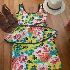 NWT floral peplum dress. Perfect for spring NWT peplum floral dress. Perfect for spring or Easter! Monteau Dresses