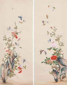 Korean Painting, Japanese Painting, Japanese Art, Floral Embroidery Patterns, Embroidery Motifs, Korean Art, Asian Art, Chinese Flowers, Geisha Art