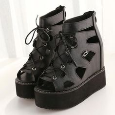 Korean Style Fashionable Cut Out Wedge-sandal