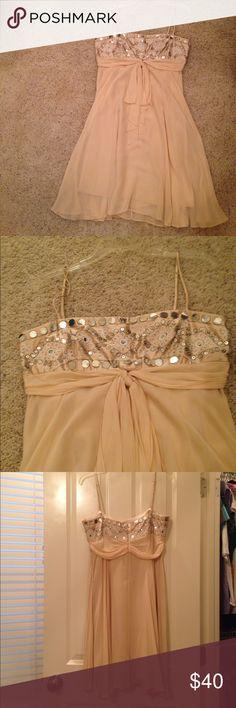 Nude BCBG dress Nude BCBG dress with sequin and beaded top BCBG Dresses Midi
