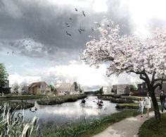 The Delta District   Vinge, Denmark   SLA #design #urban #landscape #render #flowering #tree