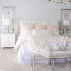 Grace Duvet Set - Pink Champagne - Home - Bedroom Decor Cute Bedroom Ideas, Cute Room Decor, Girl Bedroom Designs, Bed Ideas, Decor Ideas, Bright Bedroom Ideas, Pink Bedroom Design, Decorating Ideas, Home Decor Bedroom