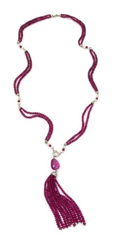 A White Gold, Rubellite, Diamond and Cultured Pearl Necklace