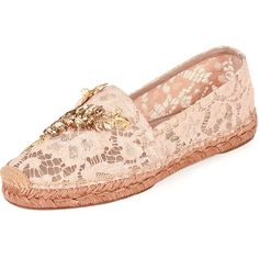 Dolce & Gabbana Jeweled Floral Lace Espadrille ($995) ❤ liked on Polyvore featuring shoes, sandals, nude, shoes flats espadrille, nude sandals, slip-on shoes, lace-up espadrilles, lace-up sandals and slip on sandals