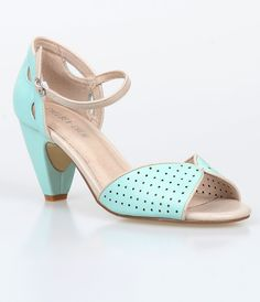 Mint & Cream Peep Toe Nicola D'Orsay Pumps