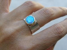 Opal Ring  Recycled Silver Ring and 14k Gold Ring MADE by OritNaar, $99.00