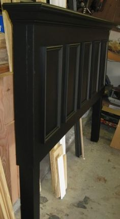 5 Panel Door Converted Into A King Size Headboard   Finished In Satin  Black. Contact