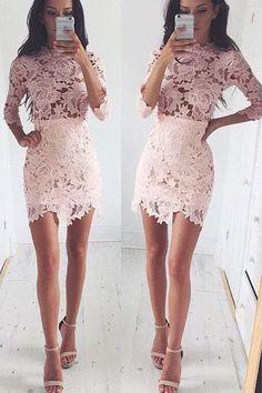 Long Lace Sleeve Bodycon Cocktail Homecoming Dress,Irregular Short Prom Dress HCD34