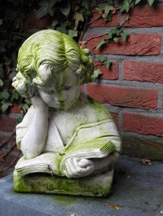 Reading in the garden -- || -- I've had this same sculpture for decades. It was found in an antique shop all those years ago . . . I knew it had no monetary value, but my young son always loved it & he became a writer . . . And of course a big reader . . . Lots of memories . . .