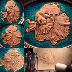Siamese Fighting Fish (This leatherwork is on 1mm thin leather.)  #trioleatherart #dinnidworkshop #handmade #leather #leathercrafting #leathertooling #leatherwork #皮雕 #皮 #皮革 #皮雕工藝 #仨革藝 #鬥魚 #fightingfish