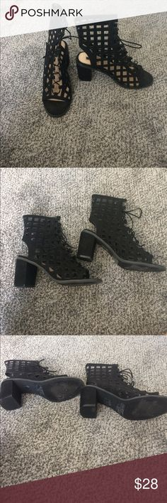 Suede lace up heels Only ever worn once. True to size. Forever 21 Shoes Sandals