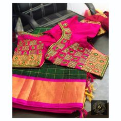Discover thousands of images about Grid work on blouse❤️ By DM for orders! Zardosi Work Blouse, Cut Work Blouse, Hand Work Blouse Design, Simple Blouse Designs, Stylish Blouse Design, Fancy Blouse Designs, Blouse Neck Designs, Wedding Saree Blouse Designs, Pattu Saree Blouse Designs