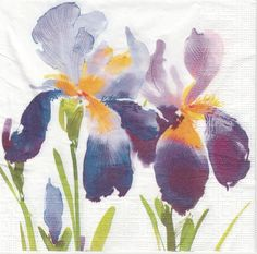4 Single Table Party Paper Napkins for Decoupage Decopatch Craft Purple Iris