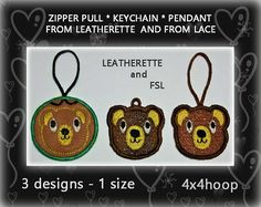 Bear/Tedy FSL Embroidery Designs  Zipper pull  Keychain