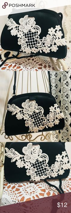 Vintage style Black SatinPurse with lace I rage style Black Satin mini purse embellished with vintage lace. A fun fashion accessory for your little girl . Accessory brand mini , like new inside and Out dressed Up with some crochet style lace. Has corded Shoulder strap . Pretty little girl fun purse or  a one of a kind find for you. accessory lady Bags Mini Bags