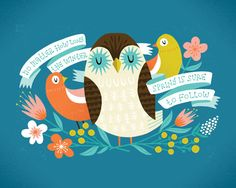 Springtime Owl Print by smalltalkstudio on Etsy