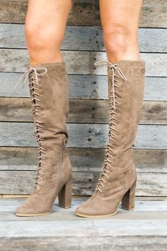 bde1ad932825 Emelia Knee High Lace Up Boots