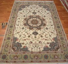 6'x9' Hand-knotted Wool n Silk Oriental Persian Tabriz Area Rug ~New57