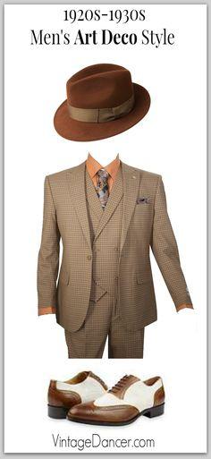 1920s, 1930s Art Deco era mens look- Fedora hat, plaid suit, two tone shoes. Find it at VintageDancer.com/1920s