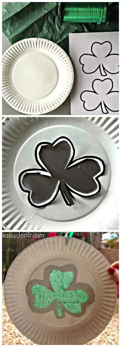 Learn how to make a fun paper plate shamrock sun catcher for a St. Kids love making this art project and hanging them up in the window. Craft Projects For Kids, Easy Crafts For Kids, Diy For Kids, Craft Kids, St Patrick's Day Crafts, Holiday Crafts, March Crafts, Spring Crafts, Saint Patricks Day Art