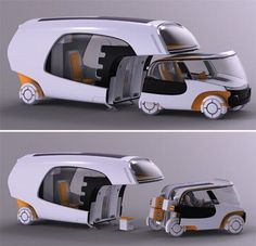 Bridging the gap between caravans and regular cars, designer Christian Susana has popped up with a multifunctional vehicle that functions as a caravan, when used as a whole, but when detached from the home part, it can also be used as a small car. Named Colim, short for 'colors of life in motion,' the new mobility concept is designed to accommodate a small family.