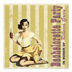 retro vintage pinup bachelorette party invitations. http://www.zazzle.com/elegantinvitation*