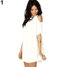 2016 Women's Fashion Summer Sexy Off Shoulder Chiffon Short Sleeve T-Shirt Tops Mini Dress