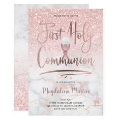 Faux glitter on pink marble First Holy Communion Invitation   Zazzle.com