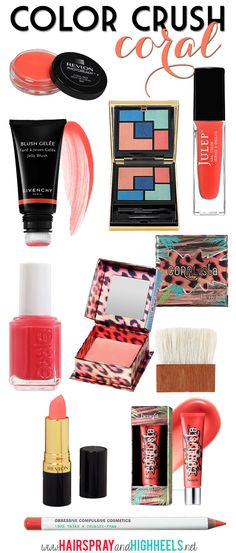 Color Crush: Coral! A whole list of coral beauty products that are perfect for all skin tones! #beauty #makeup