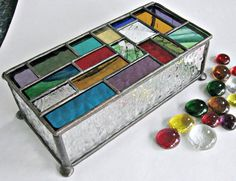 Stained glass Box, Rich Multi-piece Lid. $95.00, via Etsy.