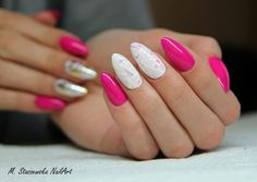 Amazing stiletto nails, pink, white