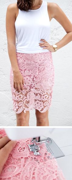 DIY Lace Pencil Skirt: Materials- yards) of Lace Fabric, yards)… Diy Clothing, Sewing Clothes, Clothing Patterns, Sewing Patterns, Fashion Sewing, Diy Fashion, Robe Diy, Diy Kleidung, Diy Vetement