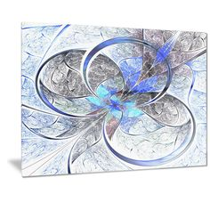 Designart 'Symmetrical Blue Fractal Flower' Digital Art