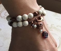 Stillness Howlite Bracelet Sacred Artwear Yoga by SacredArtwear