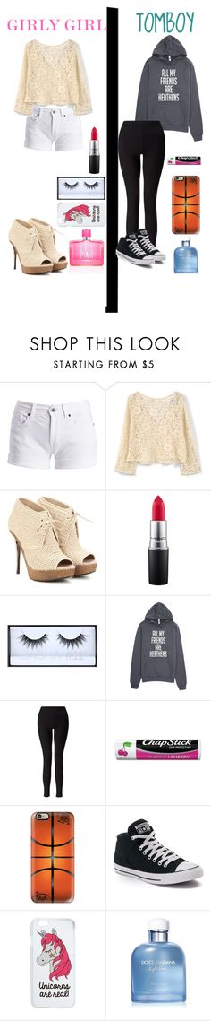 """tomboy vs girly girl who will you choose? "" by melanie-angeline-eats-nutella ❤ liked on Polyvore featuring Barbour International, MANGO, Burberry, MAC Cosmetics, Huda Beauty, Miss Selfridge, Chapstick, Casetify, Converse and Dolce&Gabbana"