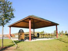 Steel Frame Square Hip Shelter Manufacturer | RCP Shelters Engineered Wood, Shelters, Steel Frame, Gazebo, Outdoor Structures, Deck Gazebo, Cabana, Hiding Places, Arbors