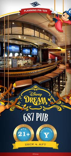 A casual lounge, 687 Pub is a sports-fan's paradise onboard the Disney Dream, with large flat-screen LCD TVs to view live broadcasts via satellite. Disney Dream Cruise, Disney Cruise Ships, Disney Vacation Planning, Orlando Vacation, Disney World Planning, Best Cruise, Disney Fun, Cruise Tips, Disney Destinations