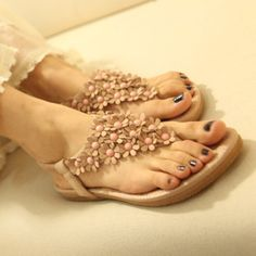 2014 New Spring Summer Bohemia Woman Flip Sandals Platform Flats Beach Slipper Casual Slippers Women's Shoes Free Shipping-inSandals from Sh...