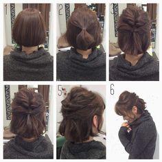 """Healthy mote hair arrangement"" that can teach easily for you - - frisuren, Up Hairstyles, Pretty Hairstyles, Braided Hairstyles, Bob Hairstyles How To Style, Easy Short Hairstyles, Short Hairstyle Tutorial, Short Hair Ponytail Hairstyles, Haircuts, Medium Hair Styles"