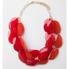 Red Three Gem Statement Necklace Beautiful statement necklace! Perfect for work or going out...great for any dressy tailgating event for teams with red colors too! (Go Razorbacks! )  Mostly red with tint of orange - perfect condition, only worn once or twice. Francesca's Collections Jewelry Necklaces