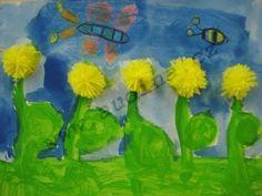 pampelišky  z bambulky Crafts For Kids, Children, Flowers, Spring, Painting, Jar, Crafting, Kids, Kunst
