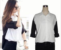 Kpop F(x) Krystal airport same type patchwork shirt black and white shirt  2014 New Arrival Fashion shirt