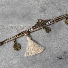 Bijou créateur - bracelet multi-rangs chaîne bronze breloques pompon beige sequins ethniques perles miyuki bordeaux noir
