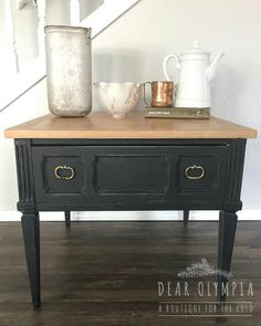A painted nightstand in Beckley Coal, Vermont Slate and Savannah Praline Stain + Finish using CeCe Caldwells natural Chalk + Clay Paints.