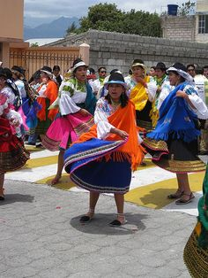 Dancers in Cotacachi, Ecuador. Cotacachi is an artisan city that is famous for its leather goods and handicrafts.