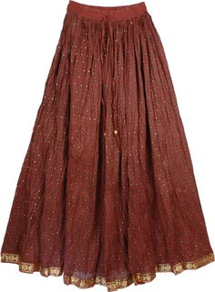 Crown of Thorns Long Copper-colored Skirt dusted with gold dots
